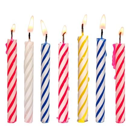 conjunto de velas de cumpleaos de colores aislados en blanco foto de archivo