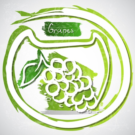healthful: Illustration of grapes with leaves