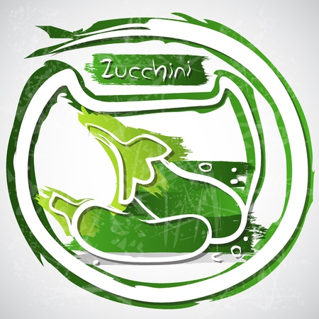 healthful: Illustration of zucchini with slice Illustration