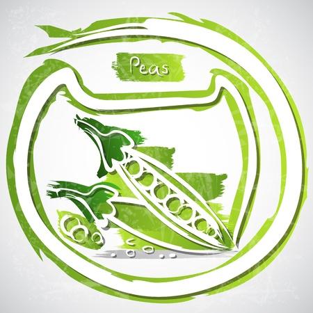 healthful: Illustration of peas with slice