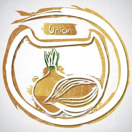 onion slice: Illustration of onion with slice