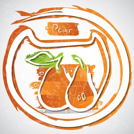 nutrition icon: Illustration of orange pear with slice and leaves