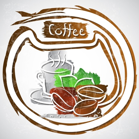 illustration of coffee cup with beans and leaves Stock Illustration - 20893161