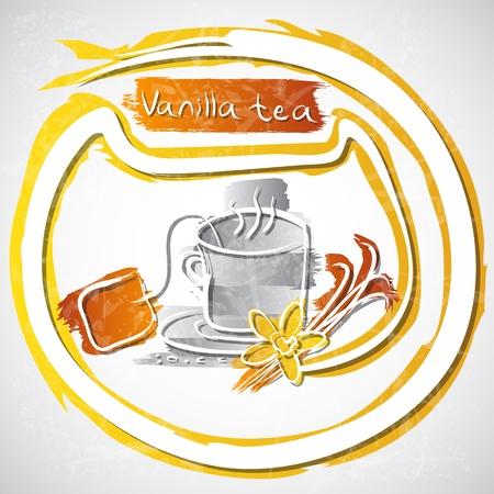 illustration of cup of vanilla tea