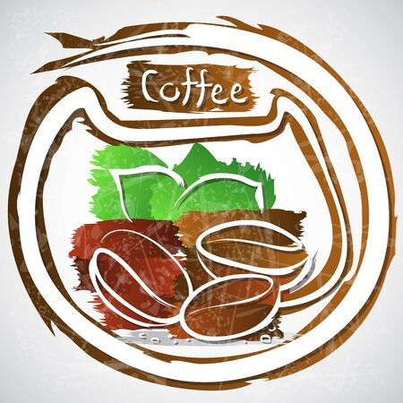 illustration of coffee beans with leaves illustration