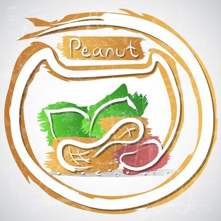 peanut:  illustration of peanut with leaves