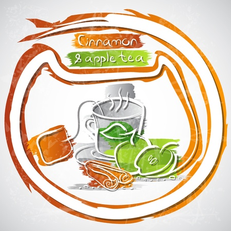 illustration of cup of cinnamon and apple tea Stock Vector - 20893276