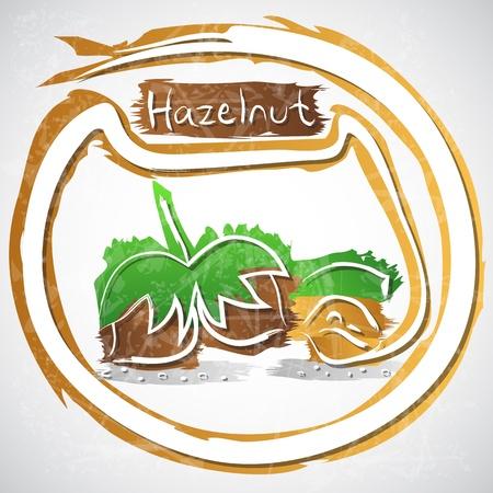 hazelnut: illustration of hazelnut with leaves Illustration