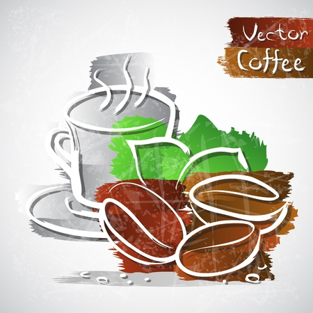 cafe shop: Vector illustration of coffee cup with beans