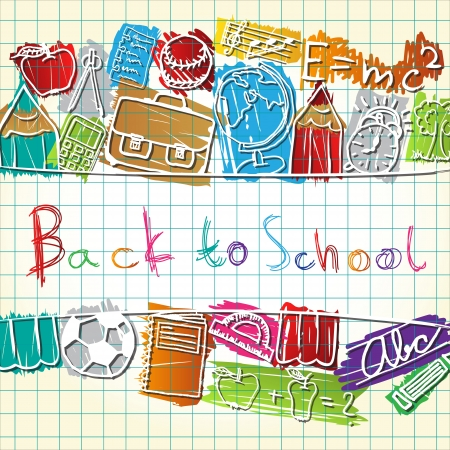 Illustration of colorful school symbols forming background Vector