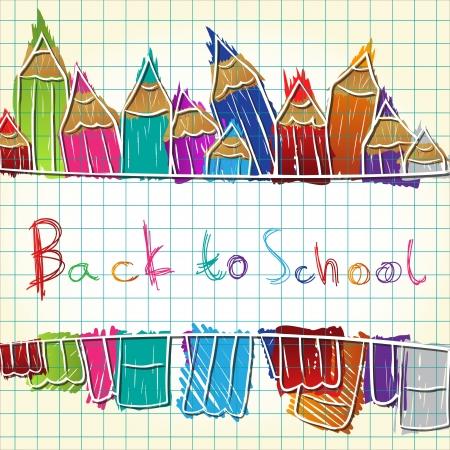 Illustration of colorful pencil set forming background
