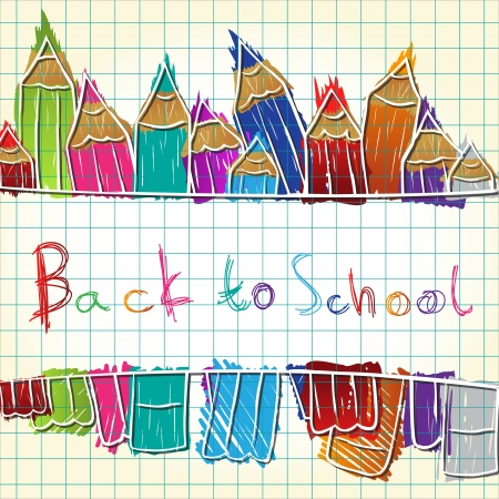 school class: Illustration of colorful pencil set forming background