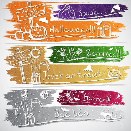 Colorful banners with Halloween symbols Vector