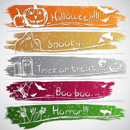 scary face: Colorful banners with Halloween symbols