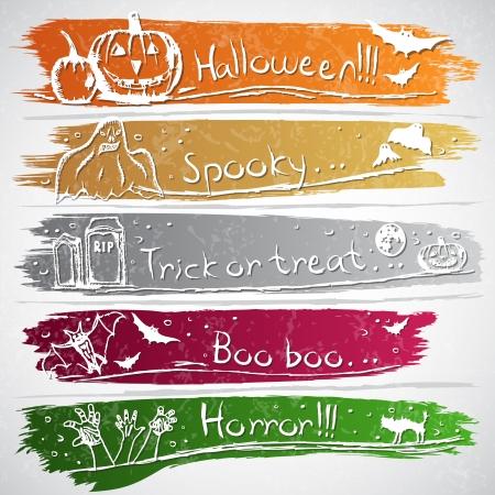 Kleurrijke banners met Halloween symbolen