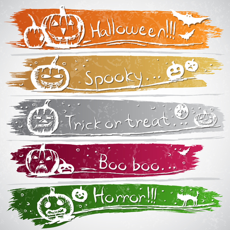 jack o lantern: Colorful banners with Halloween symbols