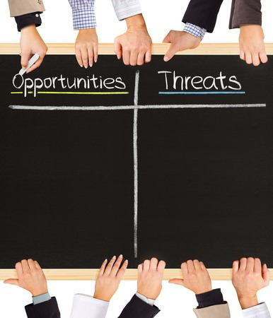 Photo of business hands holding blackboard and writing Opportunities and Threats photo