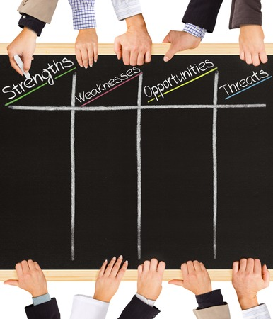 Photo of business hands holding blackboard and writing SWOT analysis terms photo