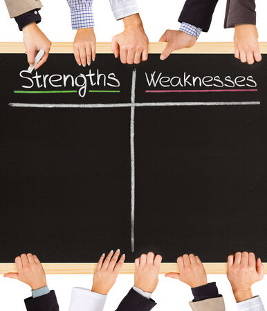 Photo of business hands holding blackboard and writing Strengths and Weaknesses photo