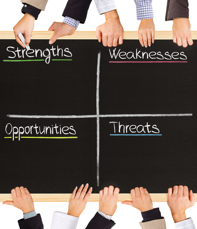 swot: Photo of business hands holding blackboard and writing SWOT analysis terms