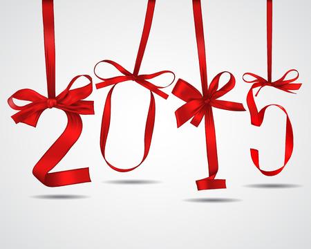 nouvel an: Nouvelle ann�e rubans rouges carte de voeux Illustration