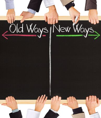 new way: Photo of business hands holding blackboard and writing timeline with Past and Future
