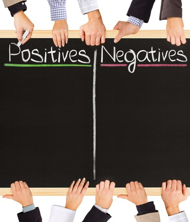 Photo of business hands holding blackboard and writing Positive and Negative photo