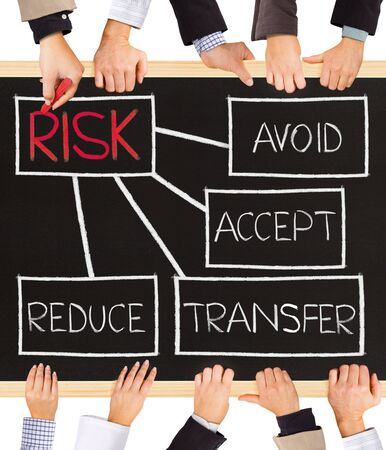 risky innovation: Photo of business hands holding blackboard and writing RISK schema Stock Photo