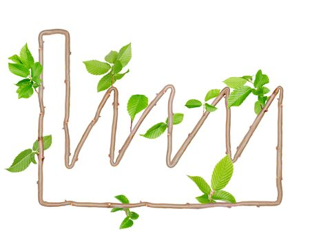 radiation pollution: Plants with leaves forming factory symbol isolated on white