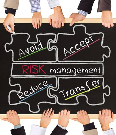 risky innovation: Photo of business hands holding blackboard and writing Risk Management schema