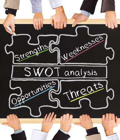 contra: Photo of business hands holding blackboard and writing SWOT analysis schema