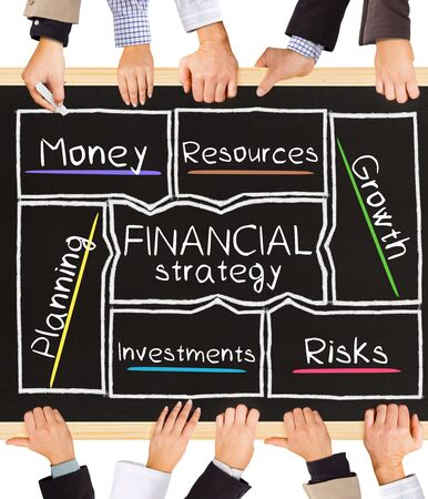asset: Photo of business hands holding blackboard and writing E-FINANCIAL strategy diagram