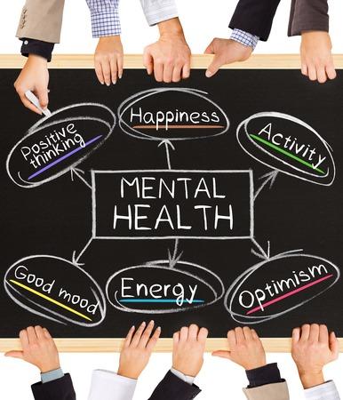 здравоохранение: Фото рук бизнес держит доску и писать схему психического здоровья