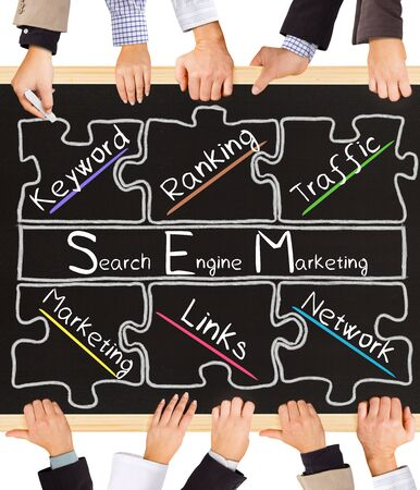 keywords link: Photo of business hands holding blackboard and writing SEM concept