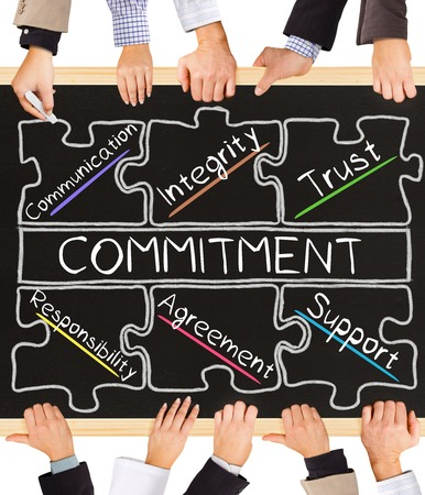 commit: Photo of business hands holding blackboard and writing COMMITMENT diagram