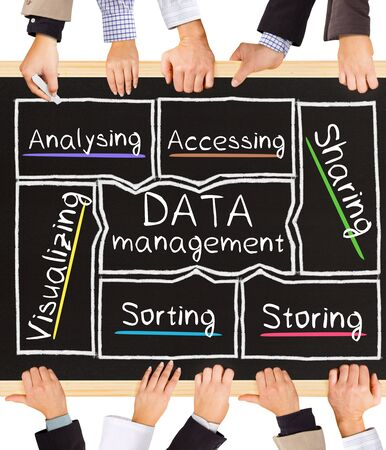 data management: Photo of business hands holding blackboard and writing DATA management diagram