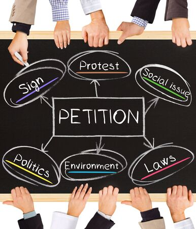 court process: Photo of business hands holding blackboard and writing PETITION concept Stock Photo