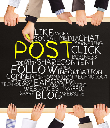 keywords link: Photo of business hands holding blackboard and writing POST diagram