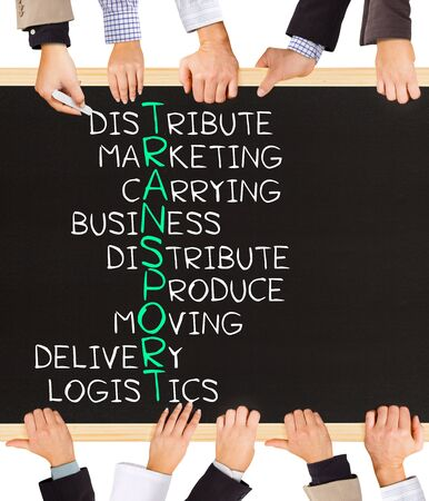 outbound: Photo of business hands holding blackboard and writing TRANSPORT concept