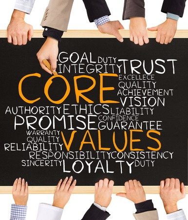 values: Photo of business hands holding blackboard and writing CORE values word cloud