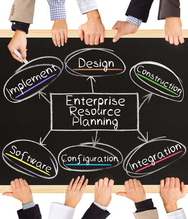 planning diagram: Photo of business hands holding blackboard and writing E-Enterprise Resource Planning diagram Stock Photo