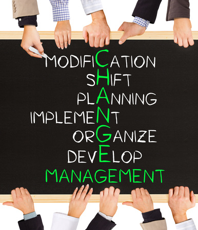business management: Photo of business hands holding blackboard and writing CHANGE MANAGEMENT concept Stock Photo
