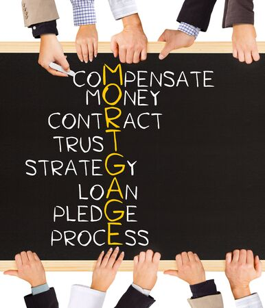 mortgage application: Photo of business hands holding blackboard and writing MORTGAGE concept