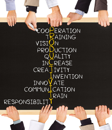 productivity: Photo of business hands holding blackboard and writing PRODUCTIVITY concept