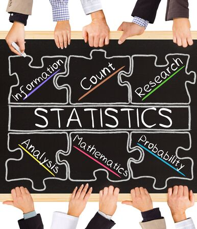 correlation: Photo of business hands holding blackboard and writing STATISTICS concept