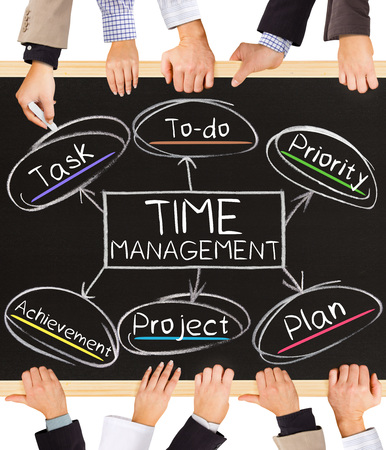 money time: Photo of business hands holding blackboard and writing TIME management concept Stock Photo