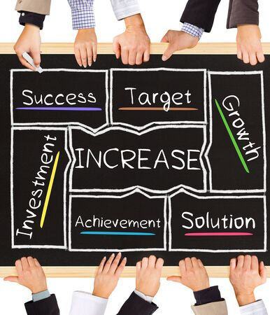 management team: Photo of business hands holding blackboard and writing INCREASE diagram