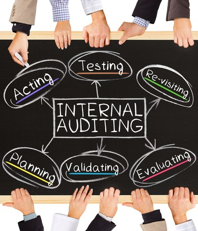 financial audit: Photo of business hands holding blackboard and writing INTERNAL AUDITING diagram Stock Photo