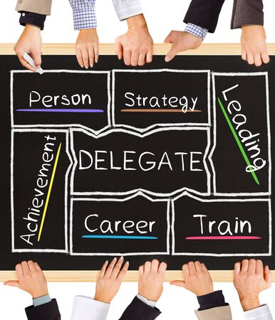 delegation: Photo of business hands holding blackboard and writing DELEGATE diagram