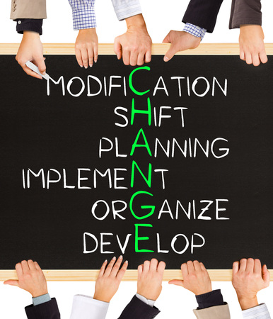 business change: Photo of business hands holding blackboard and writing CHANGE concept
